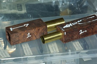 The two pen blanks drilled with tubes